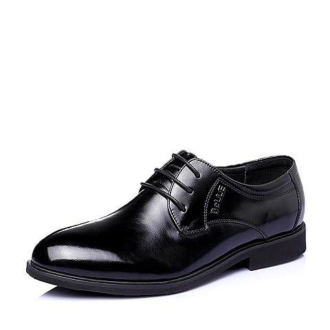 Belle/百丽春季专柜同款黑色牛皮商务正装男单鞋3QK01AM5
