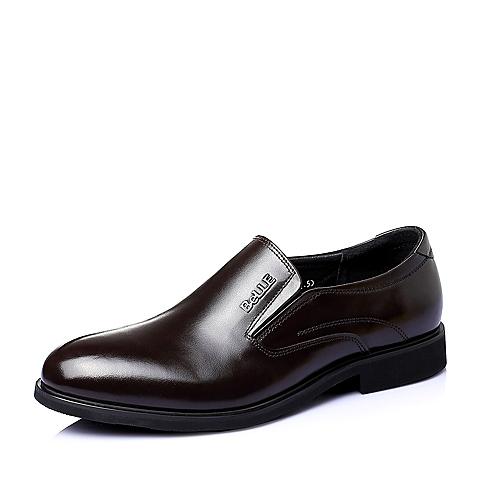 Belle/百丽春季专柜同款棕色牛皮商务正装男单鞋3QK02AM5