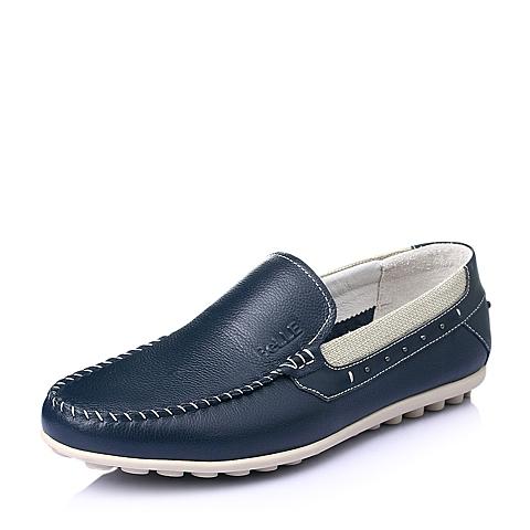 Belle/百丽春季专柜同款蓝色打蜡牛皮时尚舒适活力男休闲鞋3RE01BM5