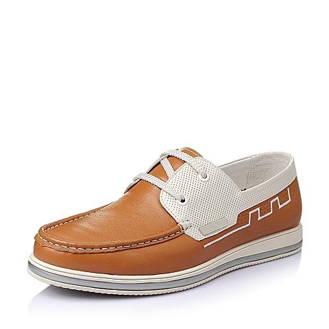 Belle/百丽春季专柜同款黄/米白打蜡牛皮时尚舒适平跟男休闲鞋3RF01BM5