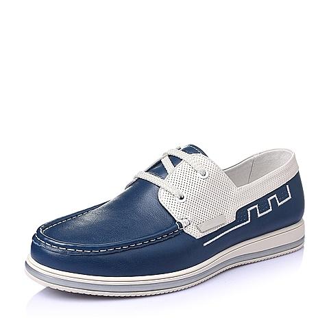 Belle/百丽春季专柜同款蓝/米白打蜡牛皮时尚舒适平跟男休闲鞋3RF01BM5