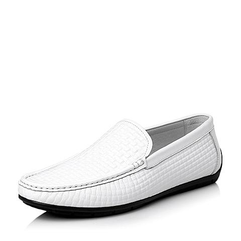 Belle/百丽夏季专柜同款白色牛皮简约休闲男单鞋3RS01BM5