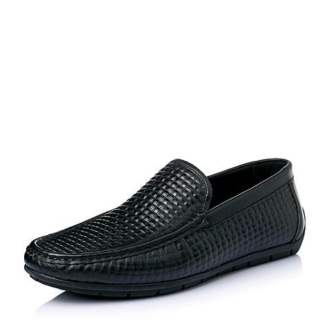 Belle/百丽夏季专柜同款黑色牛皮简约休闲男单鞋3RS01BM5