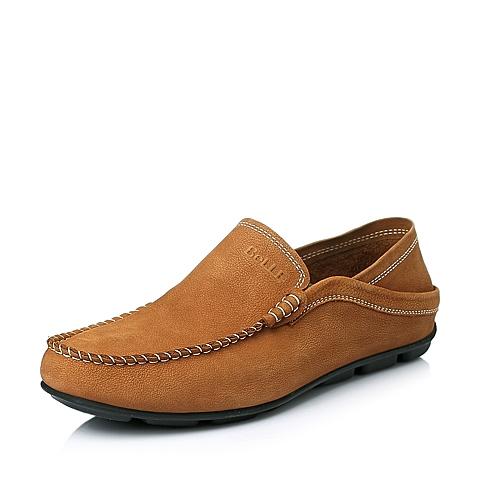 Belle/百丽夏季专柜同款土黄色牛皮舒适休闲男单鞋3RT01BM5