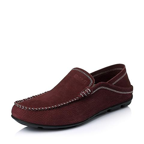 Belle/百丽夏季专柜同款酒红色牛皮舒适休闲男单鞋3RT01BM5