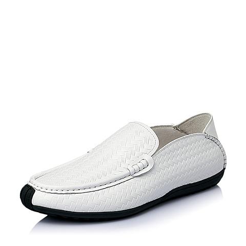 Belle/百丽夏季专柜同款白色牛皮时尚休闲男单鞋3TK01BM5