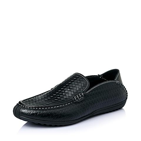 Belle/百丽夏季专柜同款黑色牛皮时尚休闲男单鞋3TK01BM5