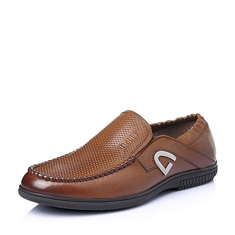 Belle/百丽夏季专柜同款棕色打蜡牛皮男休闲鞋3SM02BM5