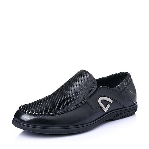 Belle/百丽夏季专柜同款黑色打蜡牛皮男休闲鞋3SM02BM5