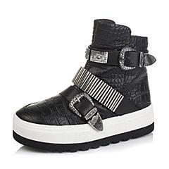 百丽精品bevivo冬专柜同款潮流休闲板靴油蜡压花皮女短靴MRZ40DD5