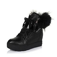 百丽精品bevivo冬专柜同款小牛皮潮流型格绒里女中靴MQX61DZ5