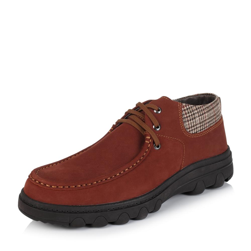 Belle/百丽冬季专柜同款红棕/杏灰色打蜡磨砂牛皮/织物男休闲靴37341DD5