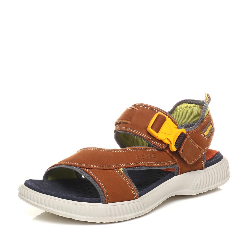 Belle/百丽夏季专柜同款土黄磨砂牛皮男凉鞋3SK04BL5