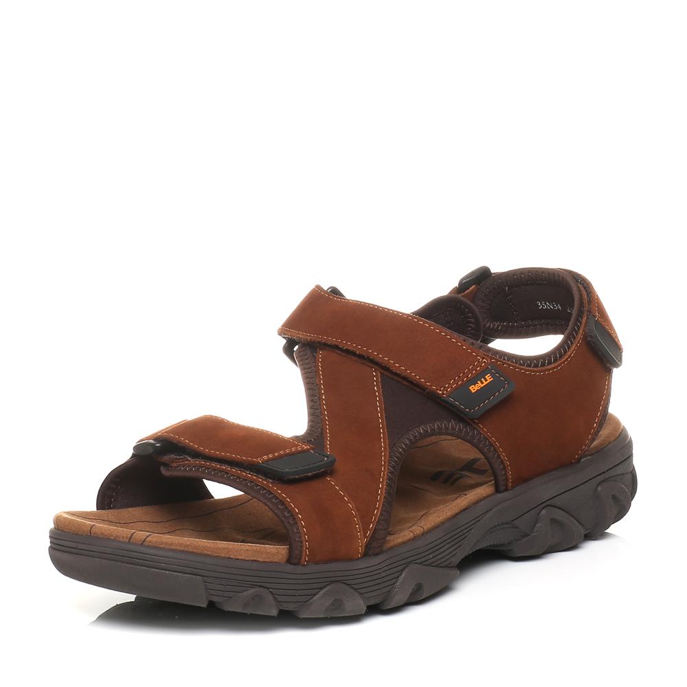 Belle/百丽夏季专柜同款棕色磨砂牛皮男凉鞋35N34BL5