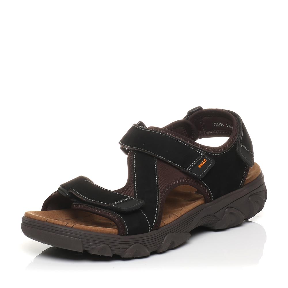 Belle/百丽夏季专柜同款黑色磨砂牛皮男凉鞋35N34BL5