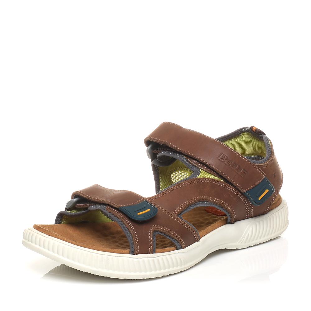 Belle/百丽夏季专柜同款棕色油蜡磨砂牛皮男凉鞋3SK03BL5