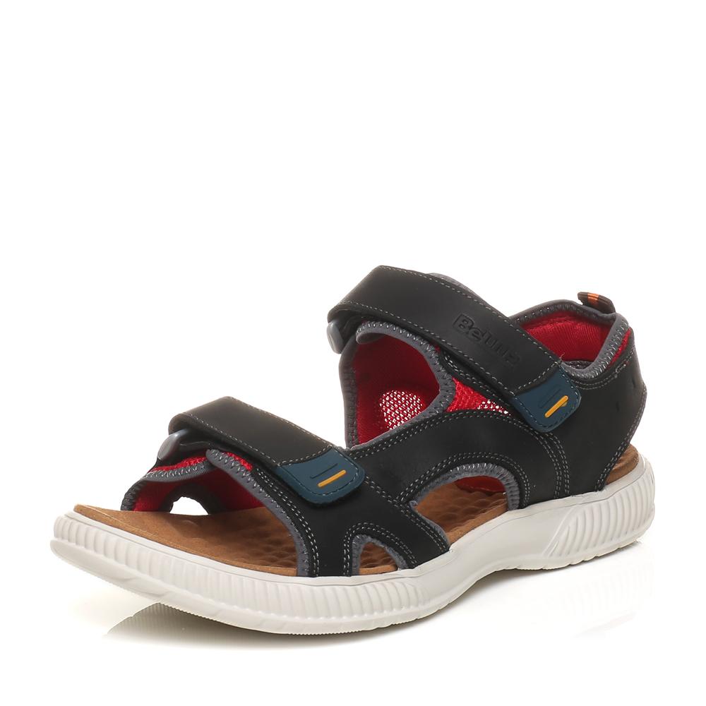 Belle/百丽夏季专柜同款黑色油蜡磨砂牛皮男凉鞋3SK03BL5