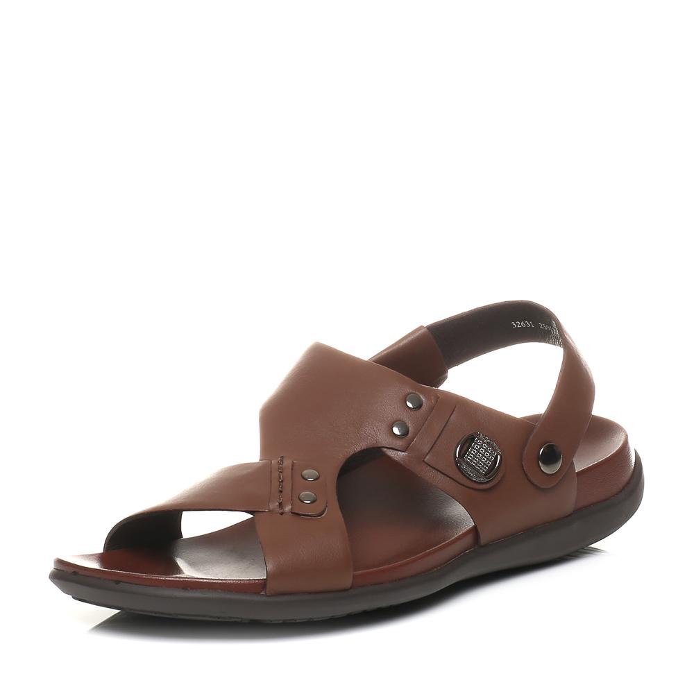 Belle/百丽夏季专柜同款棕色油牛皮男凉鞋32631BL5