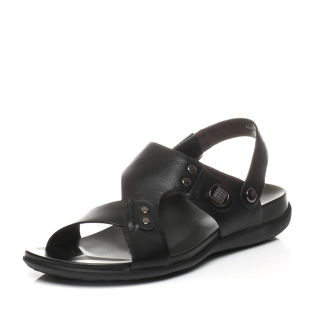 Belle/百丽夏季专柜同款黑色油牛皮男凉鞋32631BL5