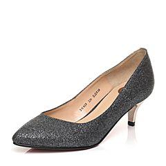 Belle/百丽春季专柜同款黑亮片布优雅酒杯跟浅口女单鞋3W419AQ5