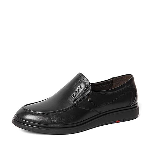 Belle/百丽春季专柜同款黑色牛皮革男休闲鞋4JC01AM6