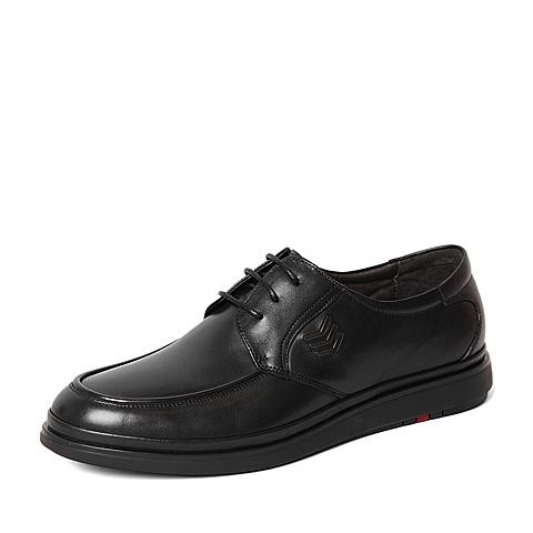 Belle/百丽春季专柜同款黑色牛皮革男休闲鞋4JC02AM6