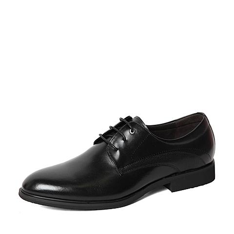 Belle/百丽春季专柜同款黑色牛皮革男皮鞋4JD01AM6