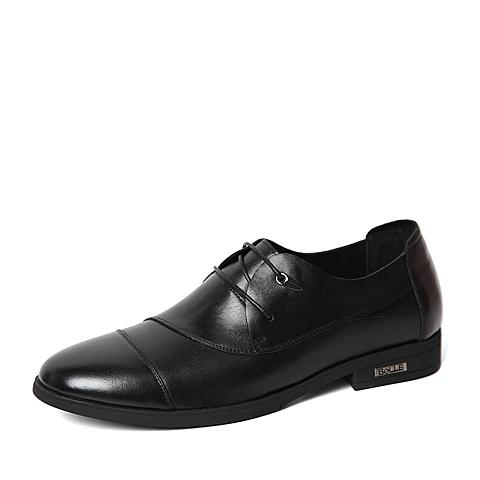 Belle/百丽春季专柜同款黑色牛皮革男皮鞋3ZQ02AM6