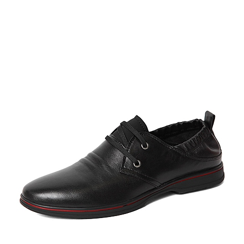 Belle/百丽春季专柜同款黑色牛皮男单鞋3ZS01AM6