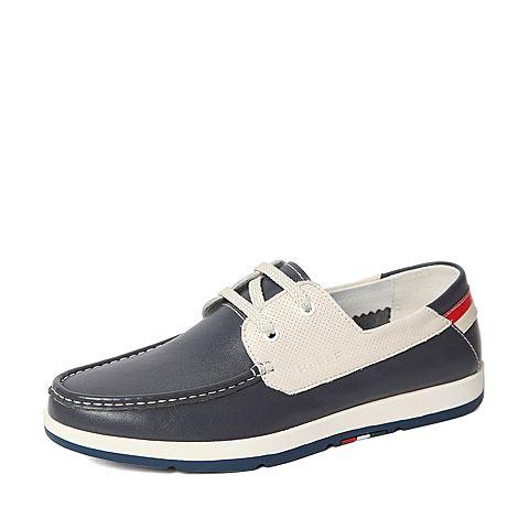 Belle/百丽春季专柜同款灰色牛皮男休闲鞋3ZX01AM6