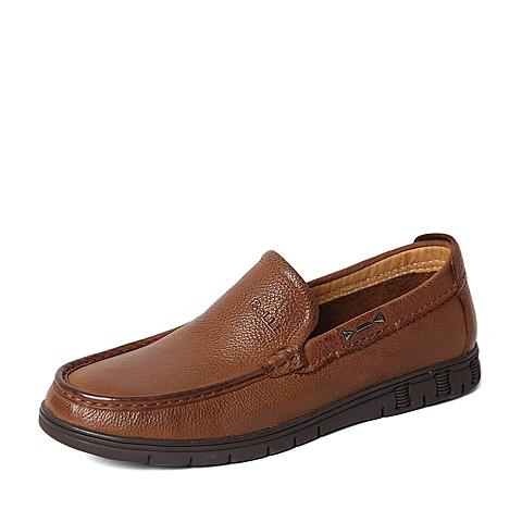 Belle/百丽春季专柜同款浅棕牛皮男休闲鞋4KC01AM6