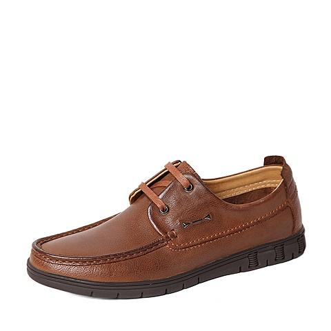 Belle/百丽春季专柜同款浅棕色牛皮男休闲鞋4KC02AM6