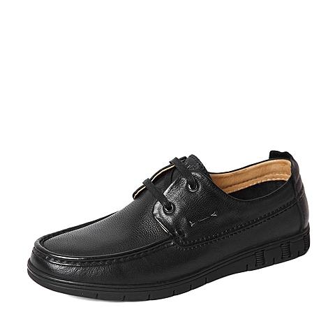 Belle/百丽2016春季专柜同款黑色牛皮男休闲鞋4KC02AM6 专柜1