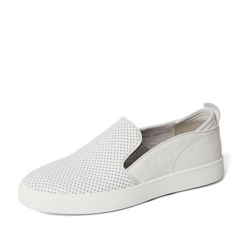 Belle/百丽春季专柜同款白色牛皮男单鞋(冲孔)38418AM6