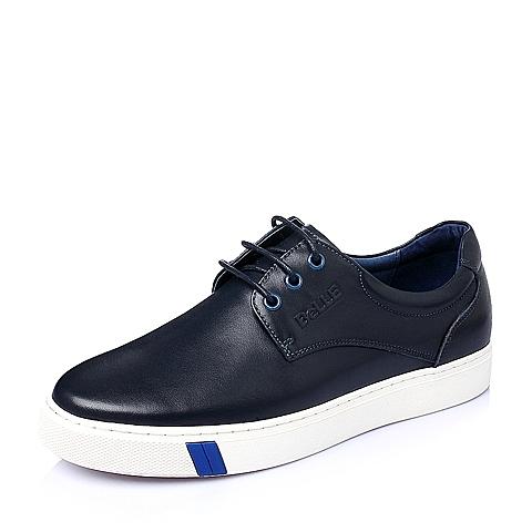 Belle/百丽春季蓝色牛皮男单鞋A1985AM6