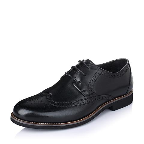 Belle/百丽春季黑色打蜡牛皮商务时尚男单鞋73283AM6