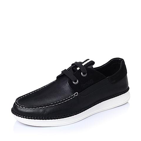 Belle/百丽春季黑色水染牛皮时尚休闲男单鞋69105AM6