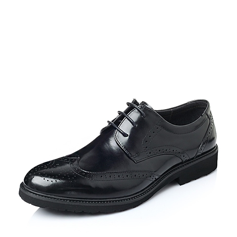 Belle/百丽2016春季黑色水染牛皮男皮鞋1180XAM6