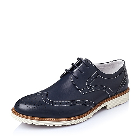 Belle/百丽春季蓝色水染牛皮男皮鞋1180XAM6