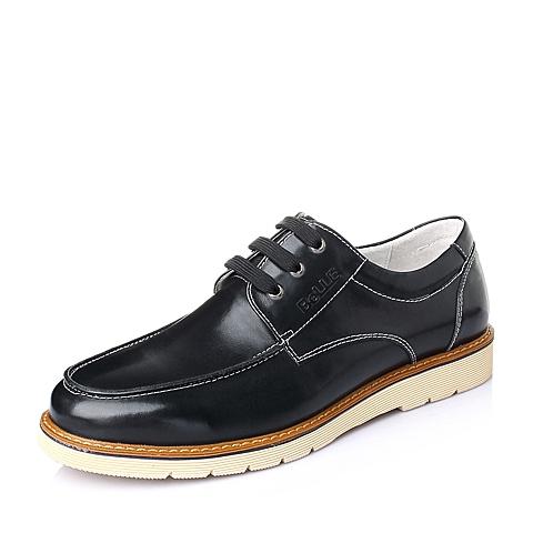 Belle/百丽春季黑色水染牛皮男皮鞋A2670AM6
