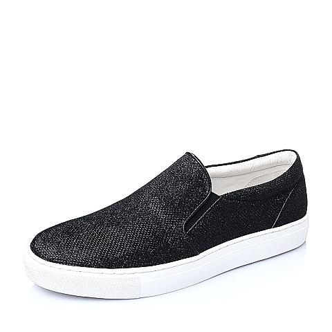 Belle/百丽春季黑色闪晶布男单鞋BK103AM6