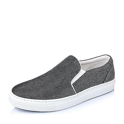 Belle/百丽2016春季银灰色闪晶布男单鞋BK103AM6