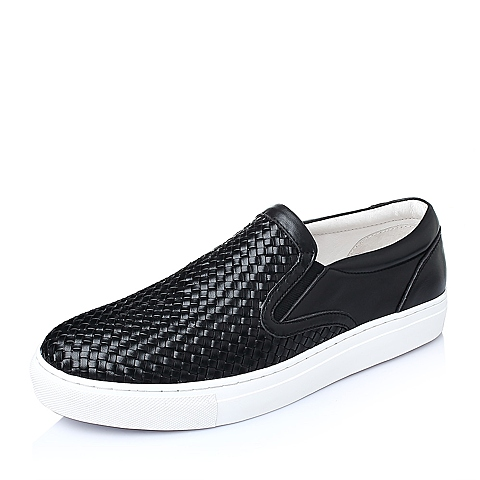 Belle/百丽春季黑色编织牛皮男休闲鞋BK101AM6