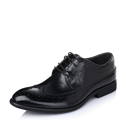 Belle/百丽春季黑色打蜡牛皮男鞋L3360AM6