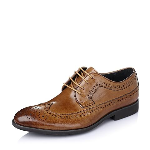 Belle/百丽春季棕色打蜡牛皮男鞋L3360AM6