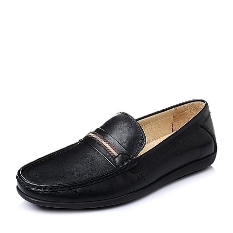 Belle/百丽春季黑色牛皮男休闲鞋L7210AM6