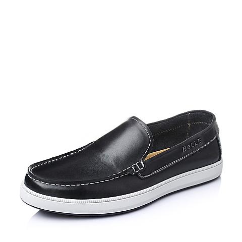 Belle/百丽春季黑色油蜡牛皮男单鞋AB018AM6