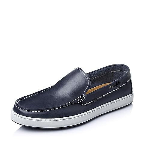 Belle/百丽春季蓝色油蜡牛皮男单鞋AB018AM6