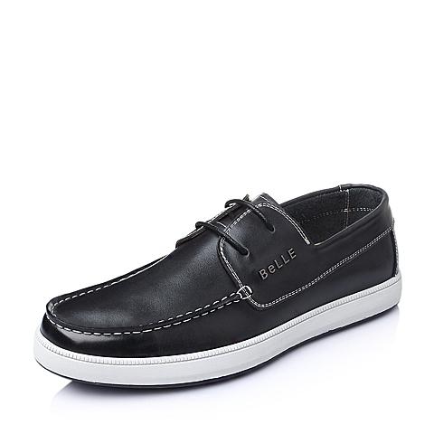 Belle/百丽春季黑色油蜡牛皮男单鞋AB017AM6