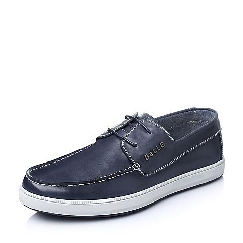 Belle/百丽春季蓝色油蜡牛皮男单鞋AB017AM6